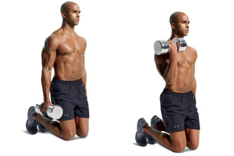 Best Bicep Workouts for Strong and Impressive Arms - Kneeling Single Arm Curls