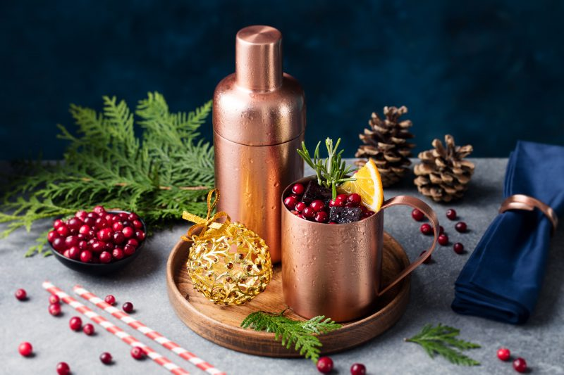 Moscow Mule Cocktail Set, Christmas And New Year Holiday Drink.